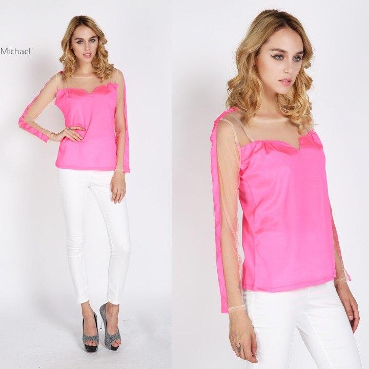 High Quality Spring Ladies Fluorescent Color Tops Chiffon font b Shirt b font font b Blouse
