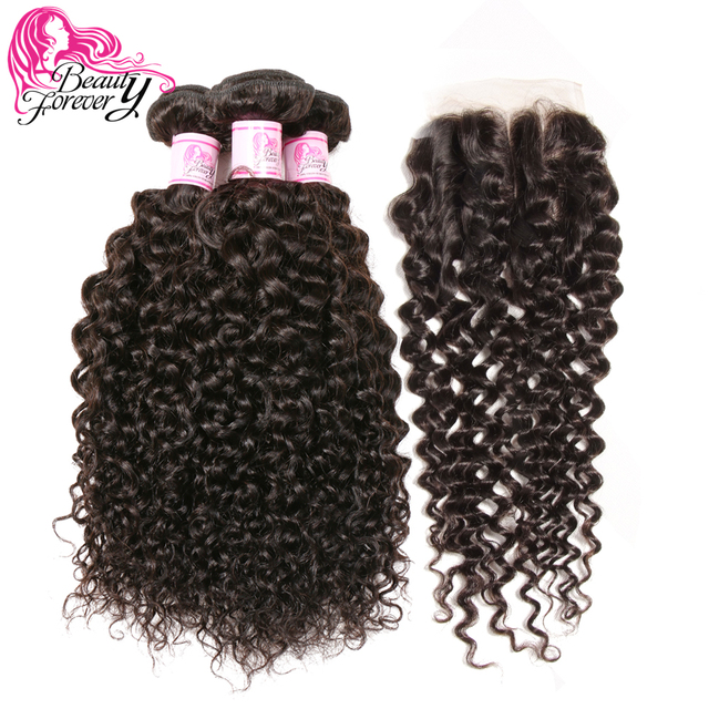 Beauty Forever Malaysian Curly Hair With Closure Three Part 100% Non Remy Human Hair Weave Bundles