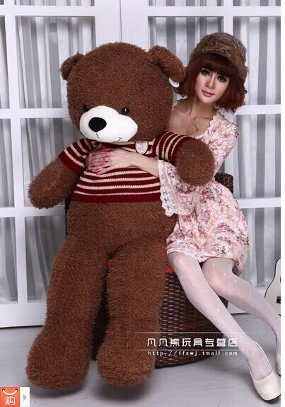 Stuffed animal 130cm brown Teddy bear plush toy bear doll throw pillow gift w3571 80cm kawaii big brown japanese style rilakkuma plush toy teddy bear stuffed animal doll birthday gift free shipping
