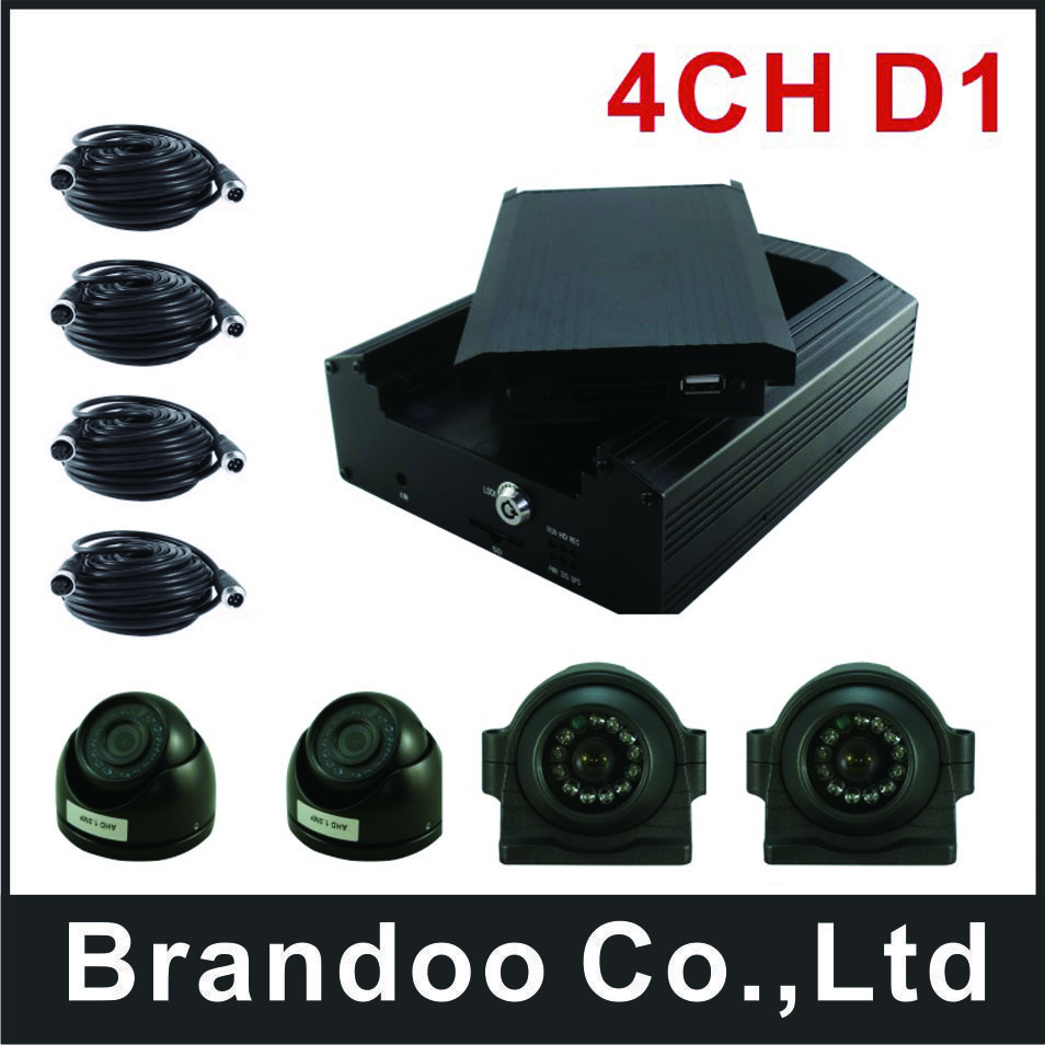 Free shipping 4CH CAR DVR kit, side view recording, HDD memory, used for shuttle bus,school bus,Russian/English Menu