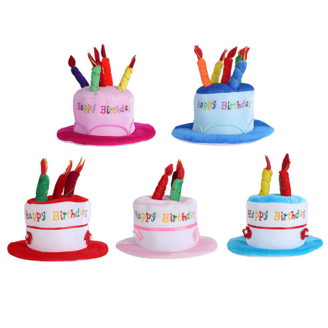 5pcs Plush Happy Birthday Cake Novelty Hat with Candles for Kids ...
