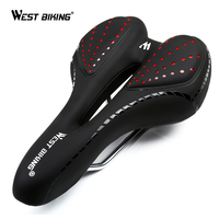 WEST BIKING Bike Silicone Cushion PU Leather Surface Silica Filled Gel Comfortable Hollow Cycling Seat Shockproof