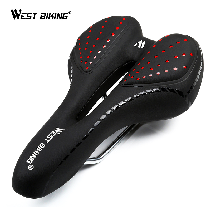 WEST BIKING Bike Silicone Cushion PU Leather Surface Silica Filled Gel Comfortable Hollow Cycling Seat Shockproof Bicycle Saddle