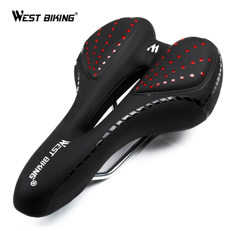 WEST RADFAHREN Bike Silikon Kissen PU Leder Oberfläche Silica Gefüllt Gel Komfortable Aushöhlen Radfahren Sitz Stoßfest Fahrrad Sattel