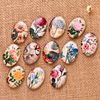 12pcs Mix Vintage Flower Photo Necklace Glass Cabochon 30 40mm Oval Flatback Handmade Diy Pendant Findings