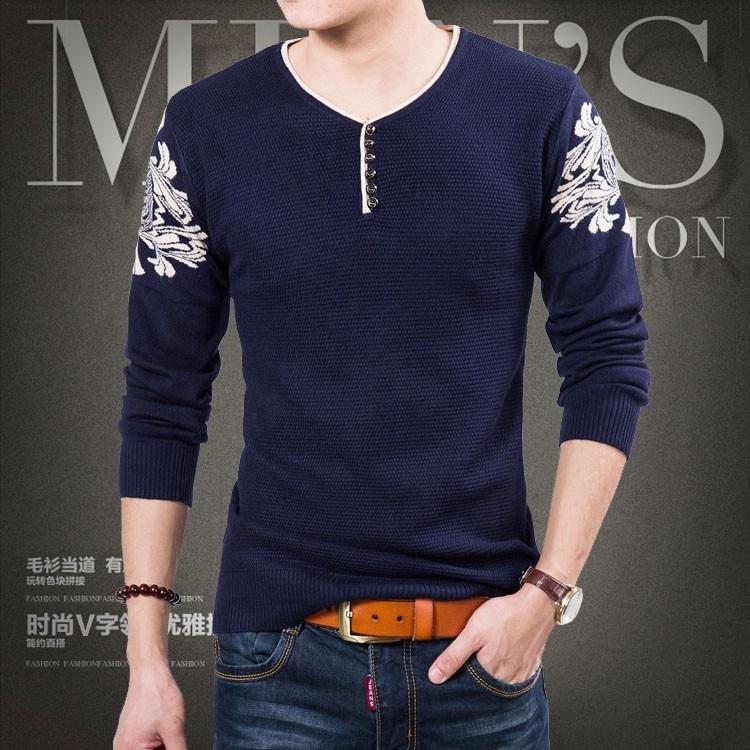 Наборы новых мужских трикотажных хлопковых свитеров с круглым вырезом колледжа ветра Мужской свитер