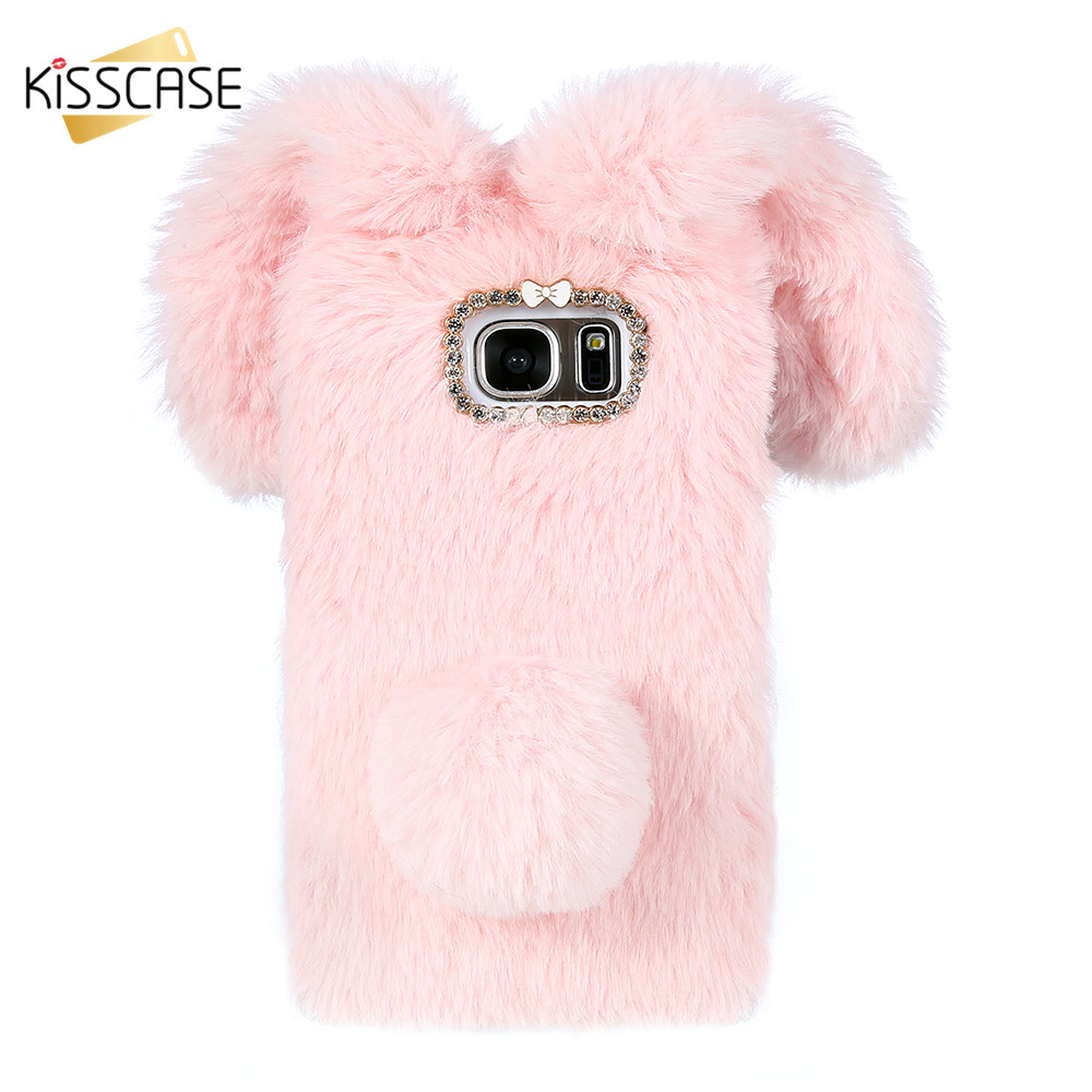 KISSCASE Cute Cat Case For Huawei P10 P20 Lite P9 P8 Lite Case Lovely Rabbit Ear Fur Diamond Warm Case For Honor 9 Honor 8 Cover