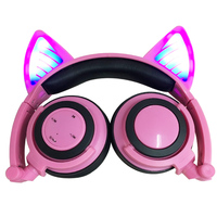 2019 portable cute cartoon cat ear earphone wireless Bluetooth light LED Cosplay headset foldable for Andrews phone PC