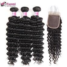 Funmi волосы глубокая волна пучки с закрытием Детские Волосы бразильские девственные волосы пучки с закрытием 3 пучка с закрытием 4X4 дюймов