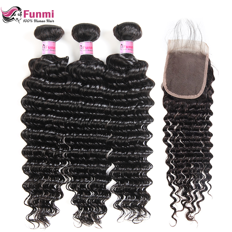 Funmi Hair Deep Wave Bundles With Closure Baby Hair Brazilian Virgin Hair Bundles With Closure 3 Bundles With Closure 4X4 Inch