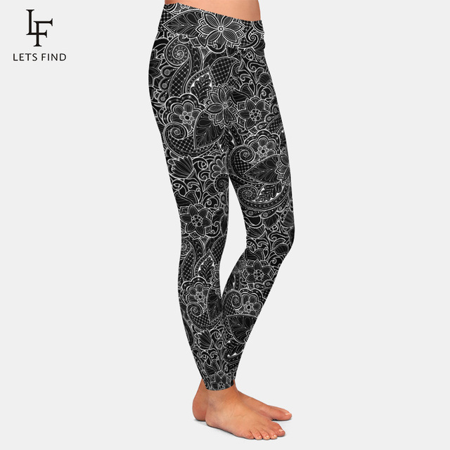 2019 New Fashion Women High Waist  Plus Size Black Leggings 3D  Printing Flowers Pattern Milk Silk Leggings Hot Sale 3