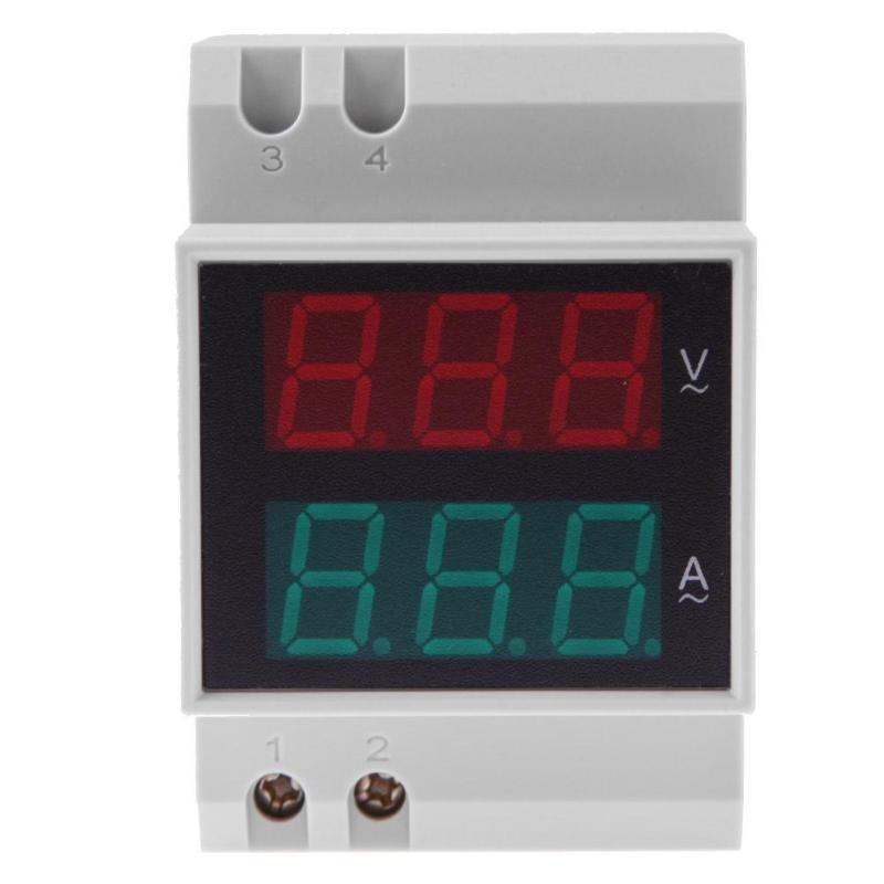 Dual LED Display Digital Voltmeter Ammeter AC 80-300V 0-99.9A Din Rail Digital Current Meter