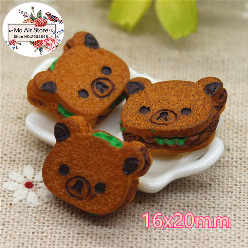 10PCS Bear Hamburger Resin Flat Back Cabochon Imitation Food Art Supply Decoration Charm Craft