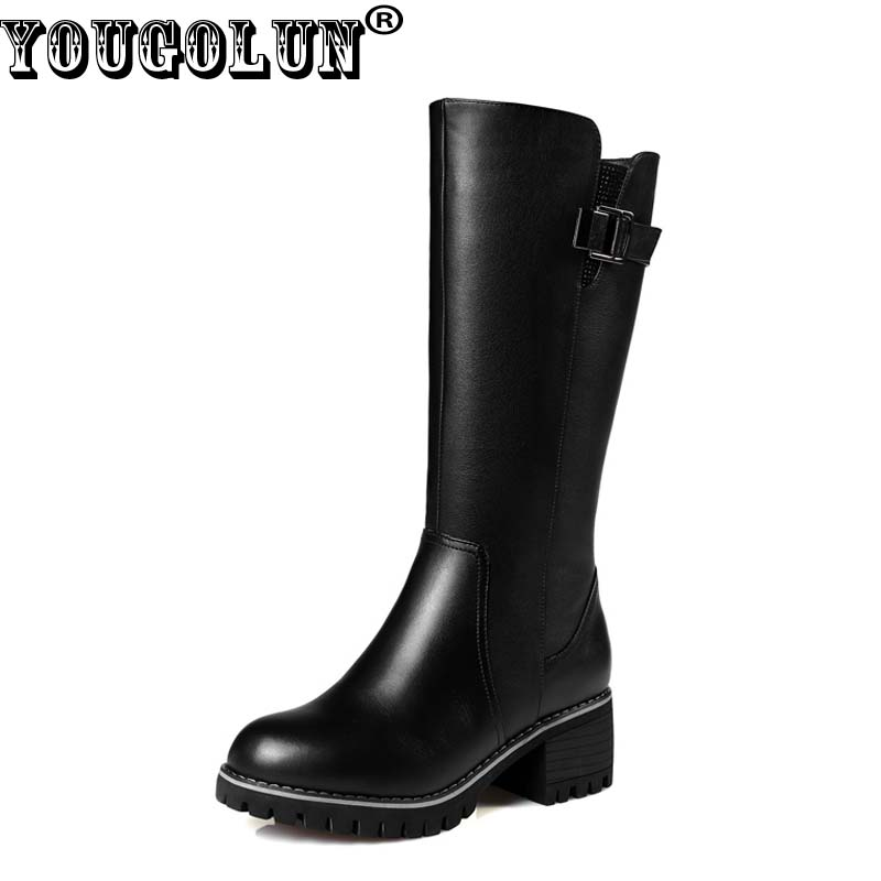 YOUGOLUN Women Mid-Calf Boots Winter Genuine Wool Square Heel 6.5 cm High Heels Black Buckle Round toe Warm Russina Shoes #Y-250 prova perfetto winter women warm snow boots buckle straps genuine leather round toe low heel fur boots mid calf botas mujer