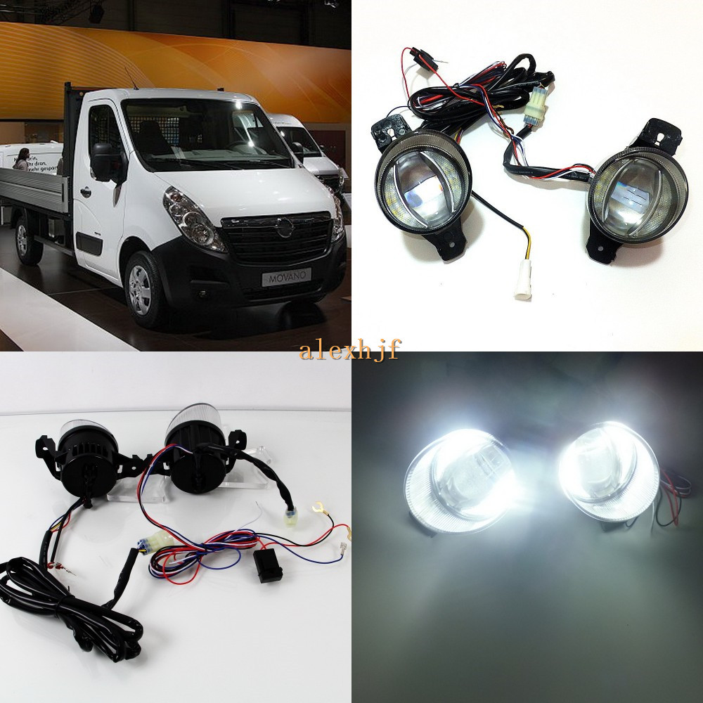 July King 1600LM 24W 6000K LED Light Guide Q5 Lens Fog Lamp+1000LM 14W Day Running Lights DRL Case for Opel Movano 2010-ON for opel astra h gtc 2005 15 h11 wiring harness sockets wire connector switch 2 fog lights drl front bumper 5d lens led lamp