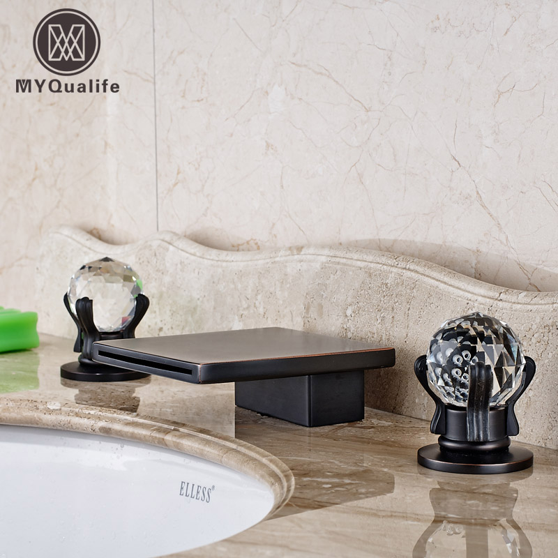Oil Rubbed Bronze Double Handles Bathroom Basin Sink Water Tap Deck Mounted Widespread 3 Holes allen roth brinkley handsome oil rubbed bronze metal toothbrush holder