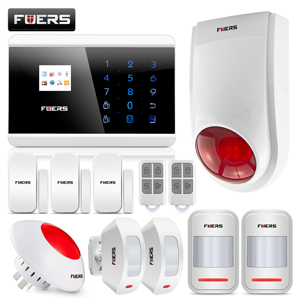 Fuers Alarm Systems Security Home Android IOS Touch Screen Keypad Wireless GSM PSTN SMS Security Burglar Alarm System 8218G 8218g wireless gsm pstn home alarm system android ios app with touch screen backup lithium english