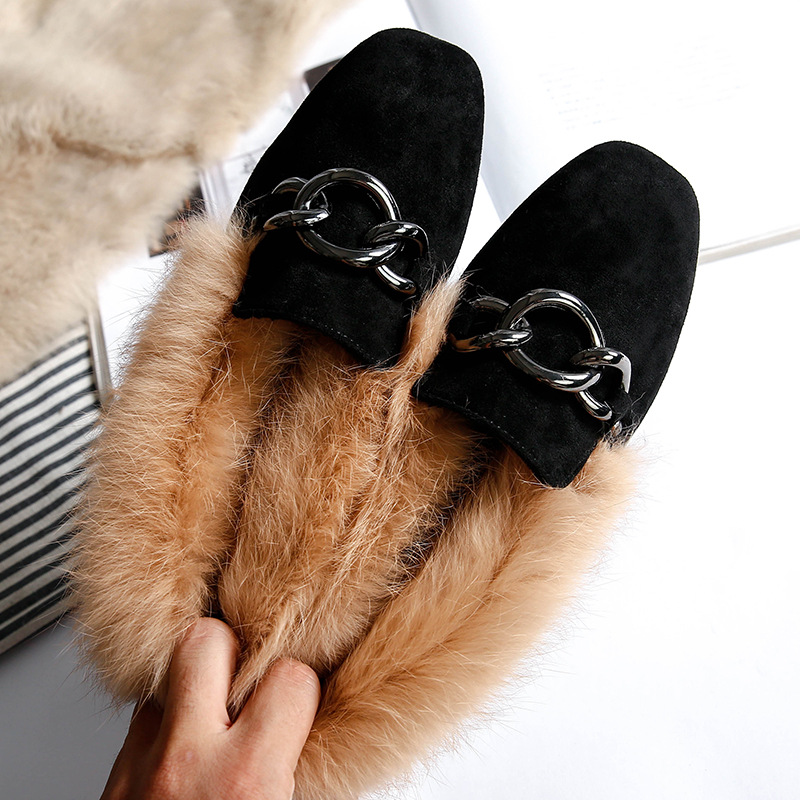 Shoes Women Fur-Boots Plush-Flat-Ankle-Boots Comfortable Warm Female Rabbit Winter Genuine-Leather
