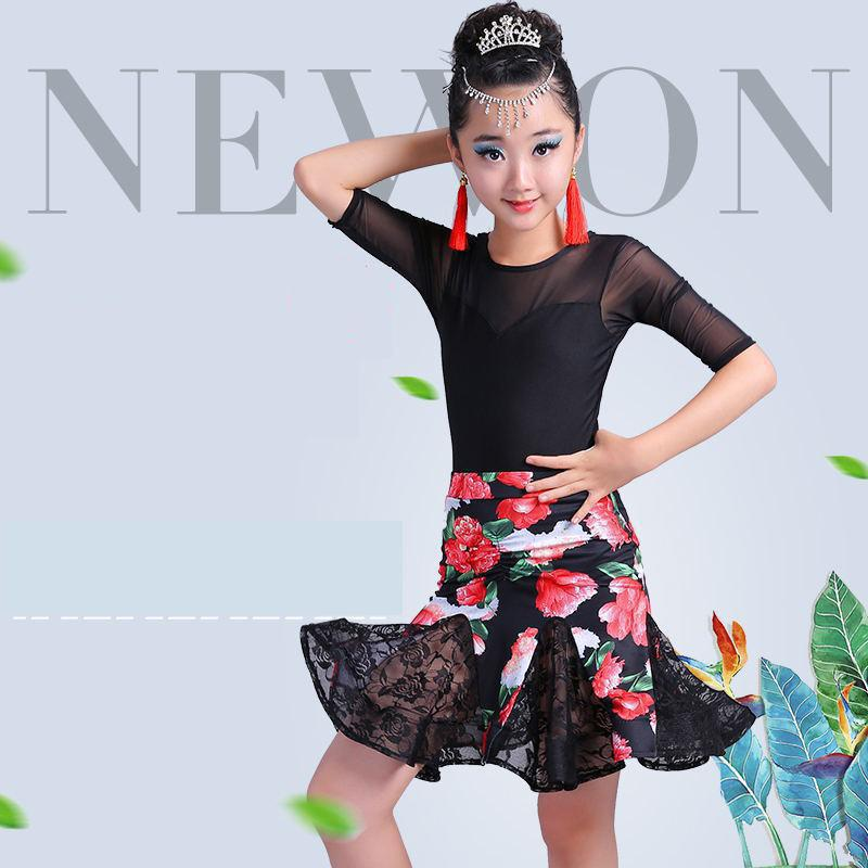 2019 New Latin Dance Dress For Girl Middle Sleeve Lace Standard Ballroom Dancing Dresses For Kids Performance Wear Salsa Clothes