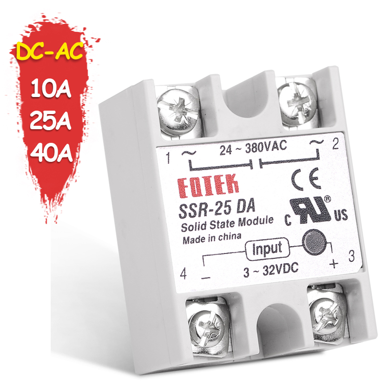 Solid State Relay DC-AC 10A 25A 40A Voltage 12V 3-32V DC TO 220V 24-380V AC Load Single Phase SSR for Temperature Controller brand new 3 32v 25a 24v 380v solid state relay module ssr 25 da dc to ac