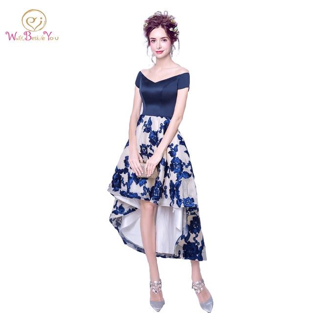Online Shop Navy Blue Prom Dresses Short Sleeves vestido formatura ...
