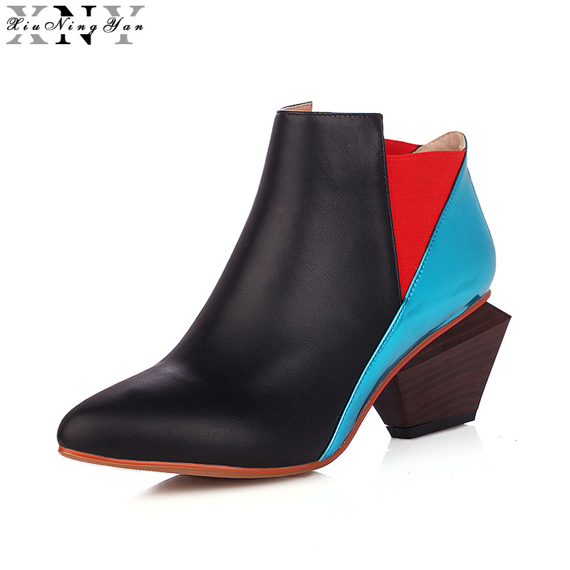 XiuNingYan Women Genuine Leather Mixed Color Pointed Toe Irregular Square Heels Ankle Boots Winter Boots Woman Plus Size 34-43 fanyuan women square heel ankle boots woman pointed toe buckle strap shoes mixed color zipper heels shoes woman size 32 42