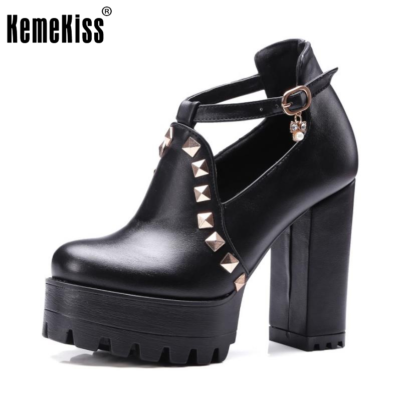 Size 33-43 Women's High Heel Shoes Women Ankle-Strap Platform Rivets Round Toe Pumps Pointed Toe Thick Heel Fashion Shoes kemekiss size 33 42 women s high heel wedge shoes women cross strap platform pumps round toe casual mixed color ladies footwear