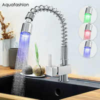 LED Light Pull Down Kitchen Faucet Polished Chrome Spring Kitchen Tap Brass Kitchen Sink Faucet Deck Mounted