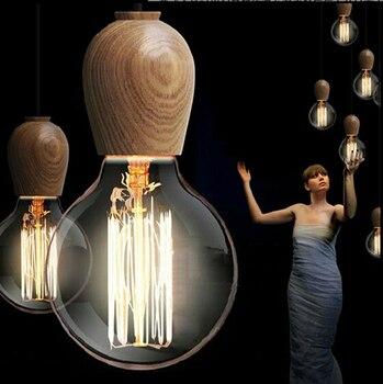 Таиланд Импорт дуба Винтаж подвесные светильники Промышленный Эдисон подвесной светильник дерево комнатный подвесной светильник для рест...
