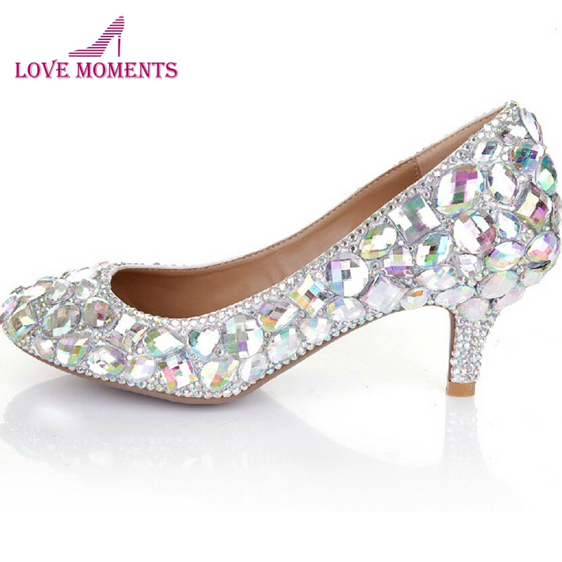 Glitter AB Crystal Party Prom Shoes 2 Inches Middle Heel Bridal Wedding Dress Shoes Rhinestone Diamond Women Formal Dress Pumps middle heel silver color wedding shoes glitter women comfortable party prom shoes plus size 43 in stock bridesmaid shoes