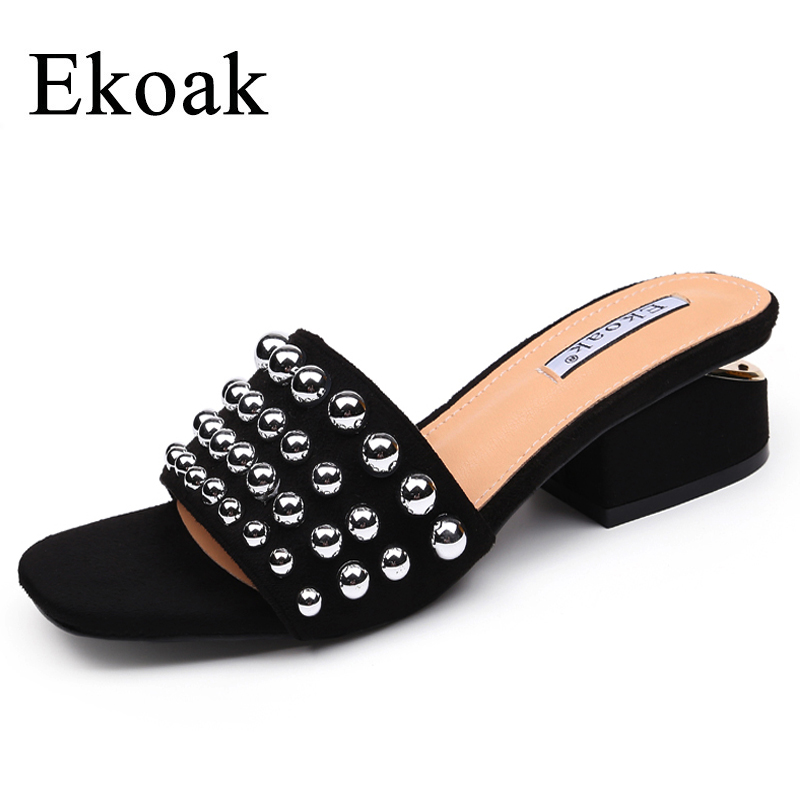 Ekoak New Fashion rivets women sandals Summer shoes woman high heels sandals women Gladiator sandals Ladies beach shoes ekoak new 2018 summer shoes woman fashion crystal women sandals ladies wedges platform shoes woman party shoes gladiator sandals