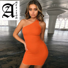 Ameision 2019 summer women fashion high waist party club streetwear dress one-shoulder backless neon solid dresses