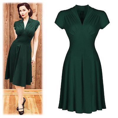Casual Retro Women Dresses 1950s Vintage Style green pure Hollowed Back Summer  Dress Short Sleeve Picnic Party Dress 910455b662