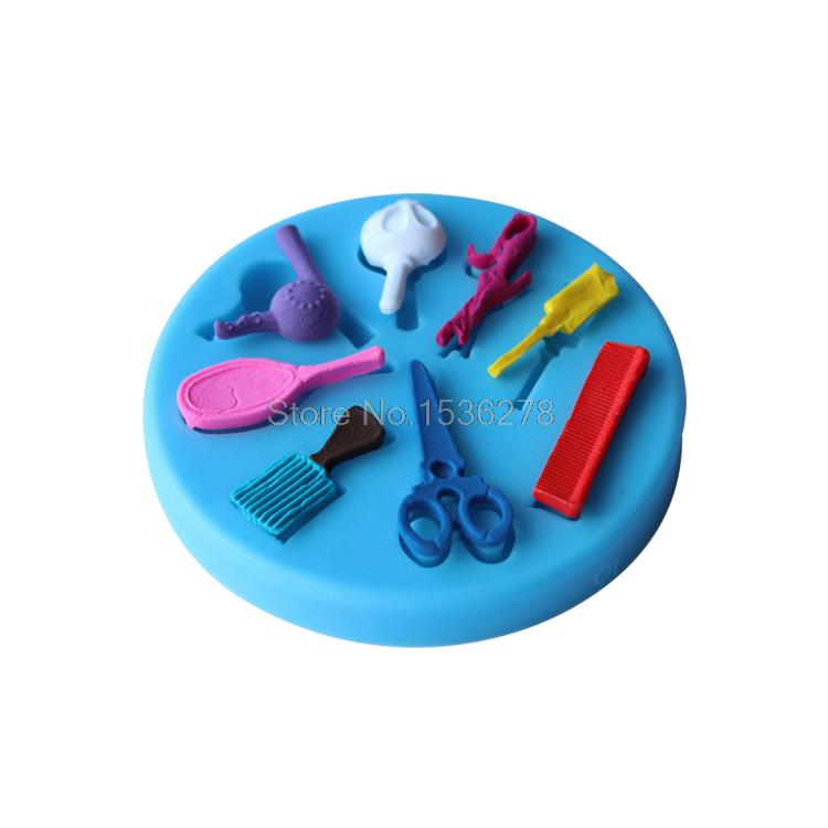 메이크업 거울 도구 빗 헤어 드라이어 요리 도구 실리콘 퐁당 껌 페이스트 금형 케이크 장식 점토 수지 사탕 Fimo A391