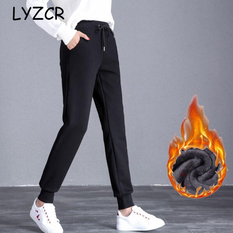 LYZCR Winter Harem Velvet Warm Pants Women Casual Loose Ladies Thick Women's Velvet Pants Winter Women Trousers Pant Female 2019