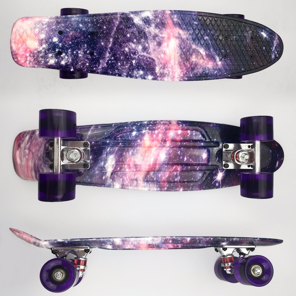 "22 inch Kids Mini Fish Skateboard Purple color mixed universal Plastic Cruiser Board Completes Nologo 22"" Banana Skateboard-in Skate Board from Sports & Entertainment"