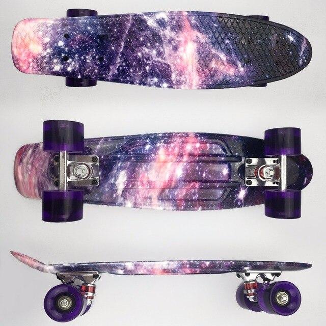 "22 inch Kids Mini Fish Skateboard Purple color mixed universal Plastic Cruiser Board Completes Nologo 22"" Banana Skateboard"
