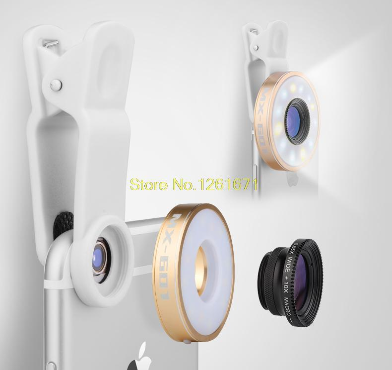 Fisheye Phone Camera Lens Kit LED Selfie Fill-in light + Macro + Wide Angle Lens for iPhone 7 7plus Samsung S8 S7 Universal V04 3