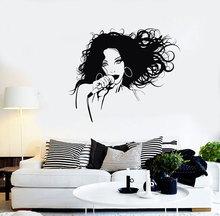 Wall Vinyl Applique Singer Fashion Girl Pop Rock Music Mural Home Bedroom Sticker  YY15