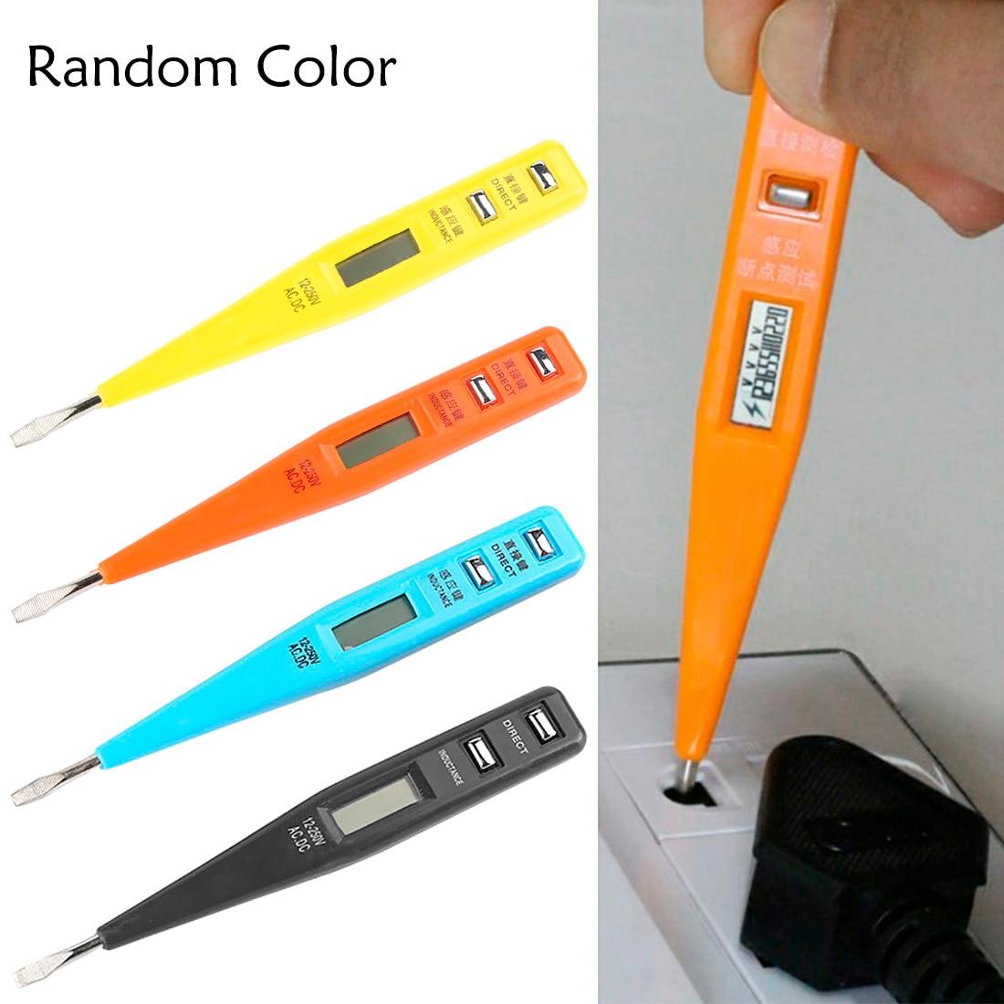 1PCS Electric Indicator AC DC 12-220V Power Outlet Voltage Detector Sensor Tester Pen LCD Display Voltage Test Pen Random Color