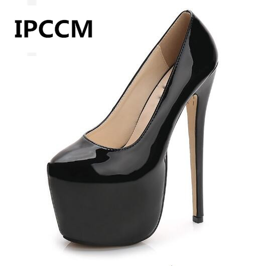 IPCCM Women Super <font><b>High</b></font> <font><b>Heels</b></font> <font><b>18cm</b></font> Shoes Concise 8CM Platforms Shoes Pumps Wedding Party <font><b>Sexy</b></font> Leather Shoes Size 35-44 image