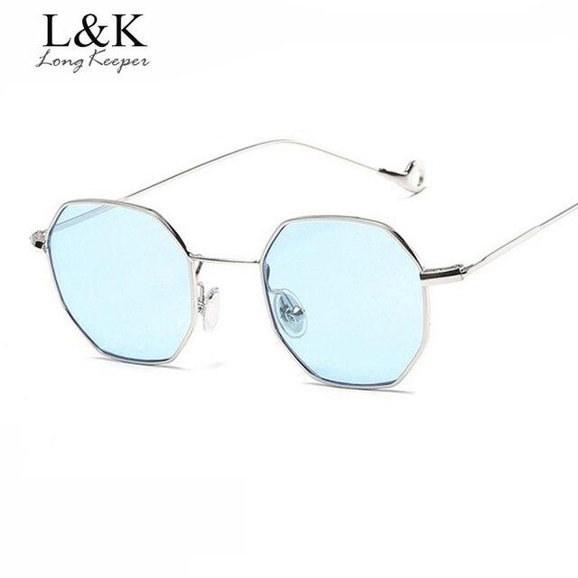 Long keeper Plaza Octagon diseñador mujeres pequeño Metal marco gafas  polígono Unisex lunettes de soleil homme 958637b94c