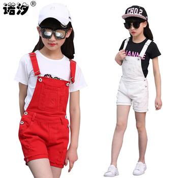 Dziewczęce denimowe fartuchy letnia moda nowe ubrania dla dzieci dorywczo dziecięce spodnie na szelkach dziewczęce krótkie dżinsy 3-13T nastoletnie dżinsy tanie i dobre opinie NoEnName_Null spandex COTTON Dziewczyny Proste Sznurek Kombinezony Stałe CSP011 Pasuje prawda na wymiar weź swój normalny rozmiar
