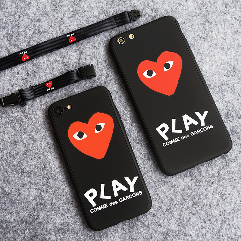 360 Degree Full Protection Cover Case For Iphone 6 6plus 6s Plus 7 7plus 8 CDG Play Comme Des Garcons Cases Kawakubo Ling