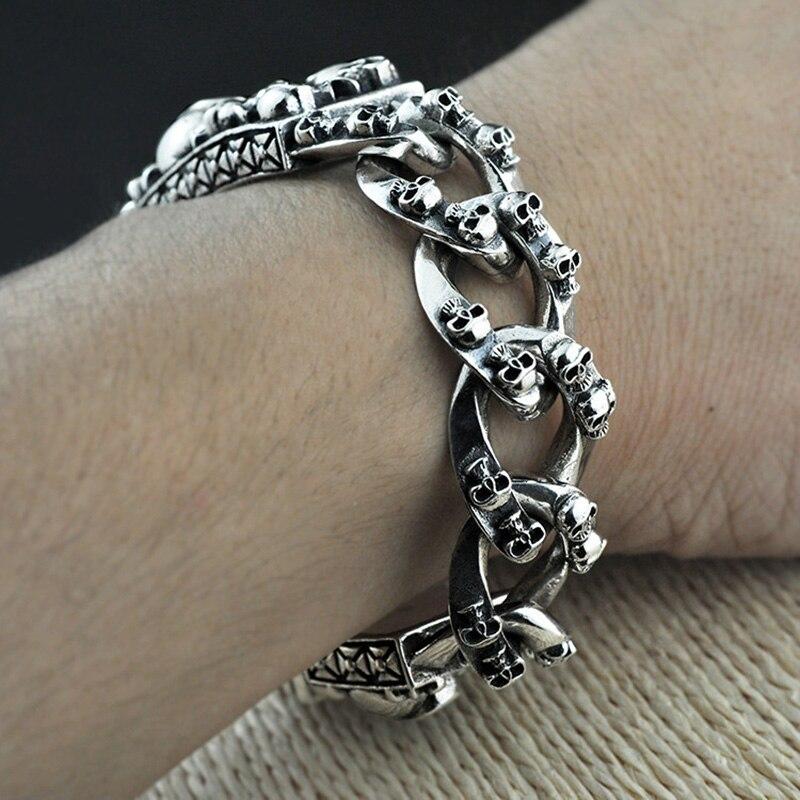 Heavy Thai Silver Men Bracelets 925 Sterling Silver Skeleton Skull Bracelets for Men Punk Vintage Skull