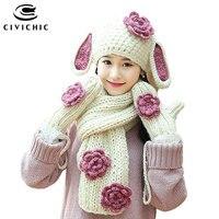 Civichic لطيف الأرنب الآذان الدافئة مجموعة متماسكة قبعة وشاح قفاز 3 قطع الكروشيه الزهور headwear رشاقته القفازات تويست نسج شال SH196