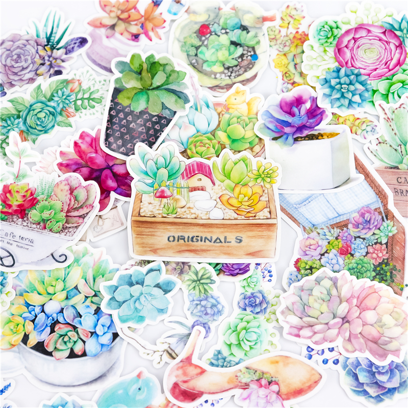 32pcs Kawaii Succulent Plants Stickers  For Kid DIY Laptop Waterproof Skateboard Moto Phone Car Toy Scrapbooking Stickers