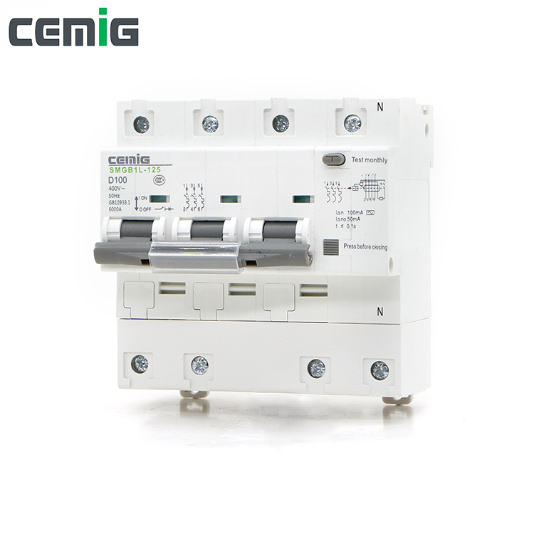 Cemig Miniature Leakage Circuit Breaker MCB Phase Line + Neutral + Leakage Protection RCD AC230V 63A-100A SMGB1L-125 3P+N RCBO
