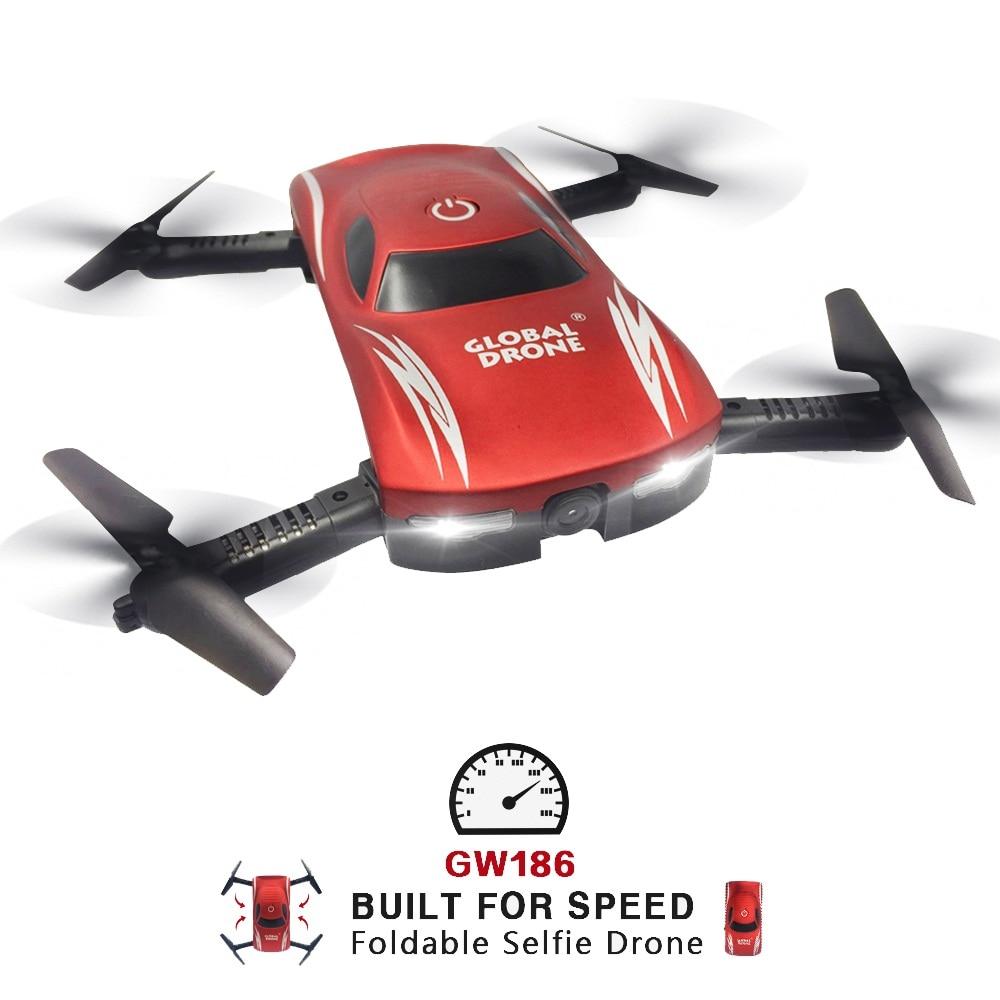 Global Drone GW186 Foldable Drone with Camera HD Wifi Control FPV Quadrocopter Selfie Drone Professional Dron VS JY018 E58 E52 drone a6w wifi ffv selfie drone foldable quadcopter with hd camera rc quadrocopter vs xs809hw jy018