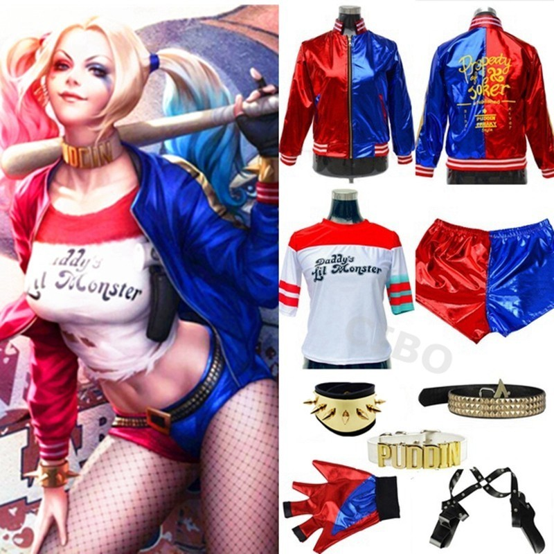 Movie Batman Suicide Squad Harley Quinn Clown Cosplay Costume Full Set Accessories Halloween Jacket Christmas Girl Kids Gift